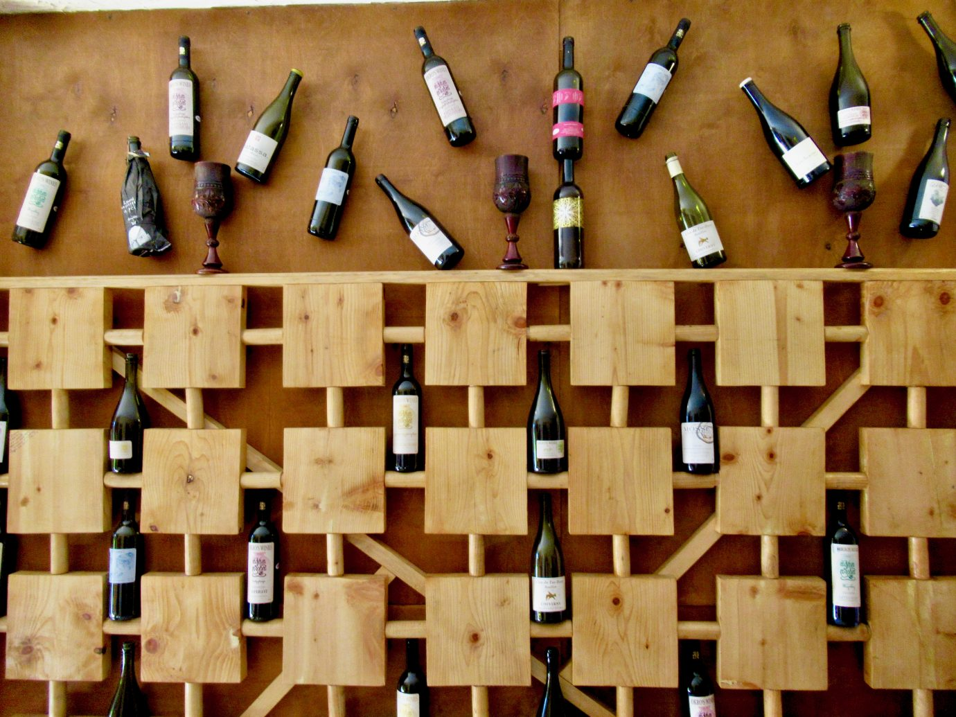 Wine display at Okro's Restaurant