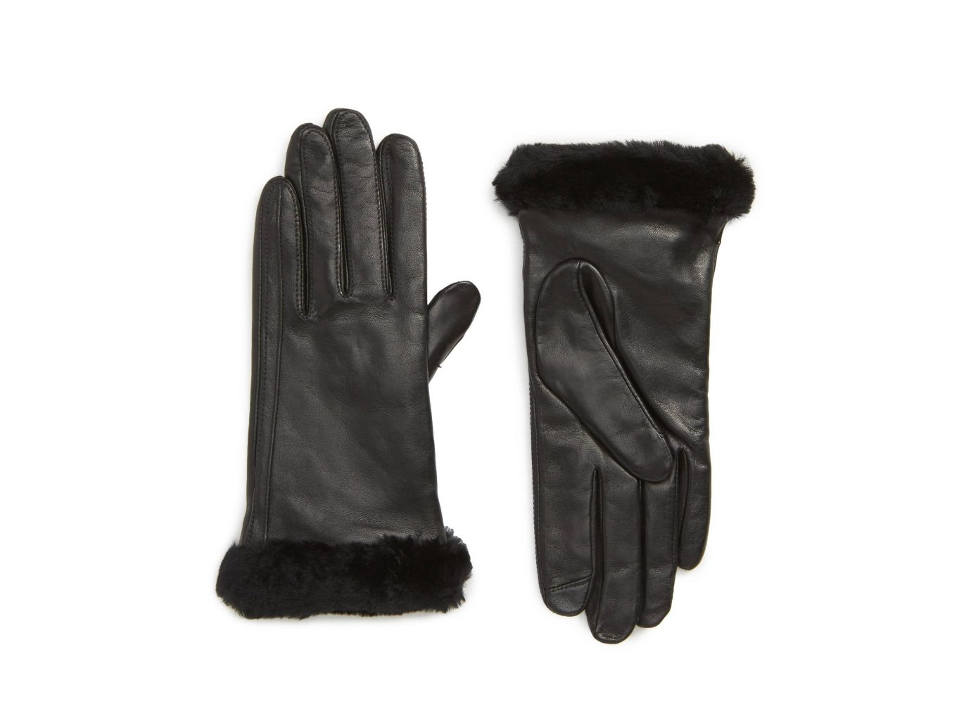 Ugg Touchscreen Compatible Leather Gloves with Shearling Trim