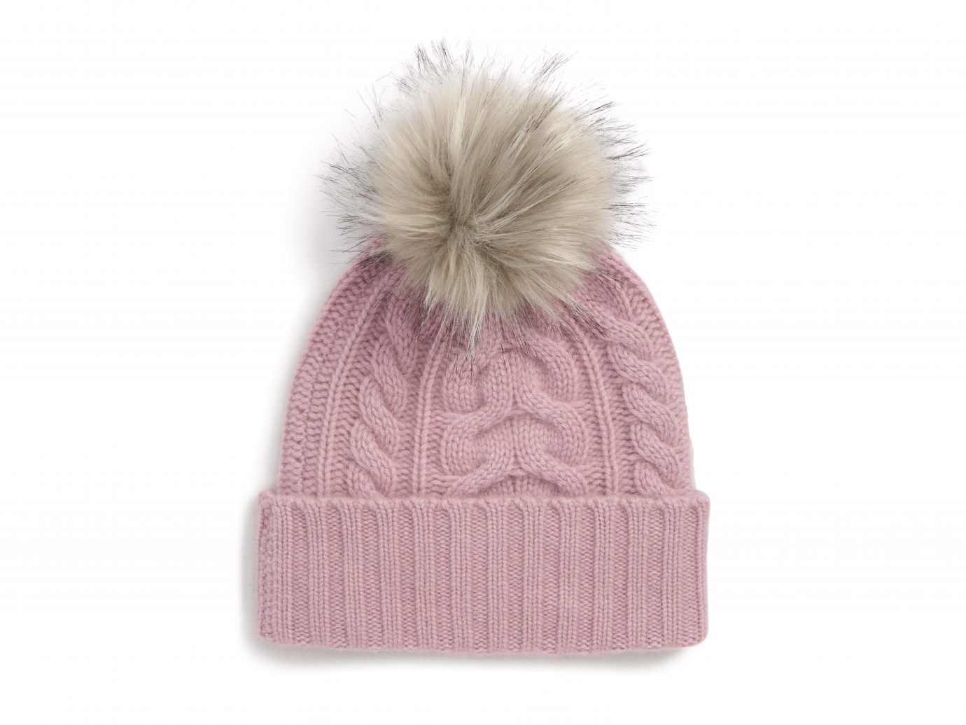 Halogen Cashmere Cable Knit Beanie with Faux Fur Pom