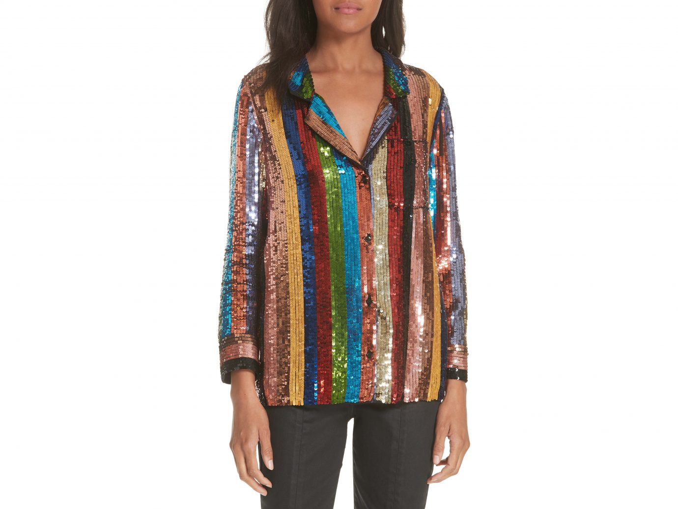 Alice + Olivia Keir Sequin Stripe Blouse