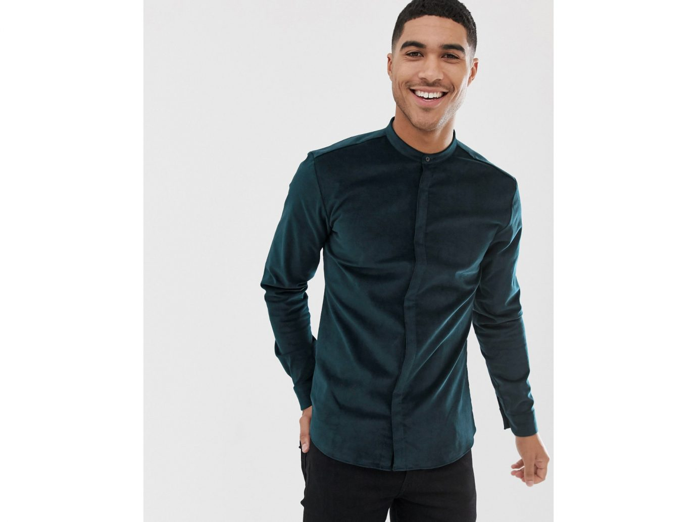 HUGO edies extra slim fit velvet grandad collar shirt in green