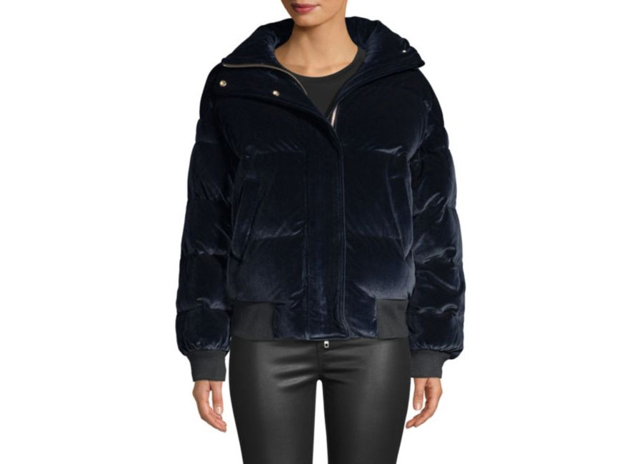 The Kooples Velvet Down Quilted Puff Jacket