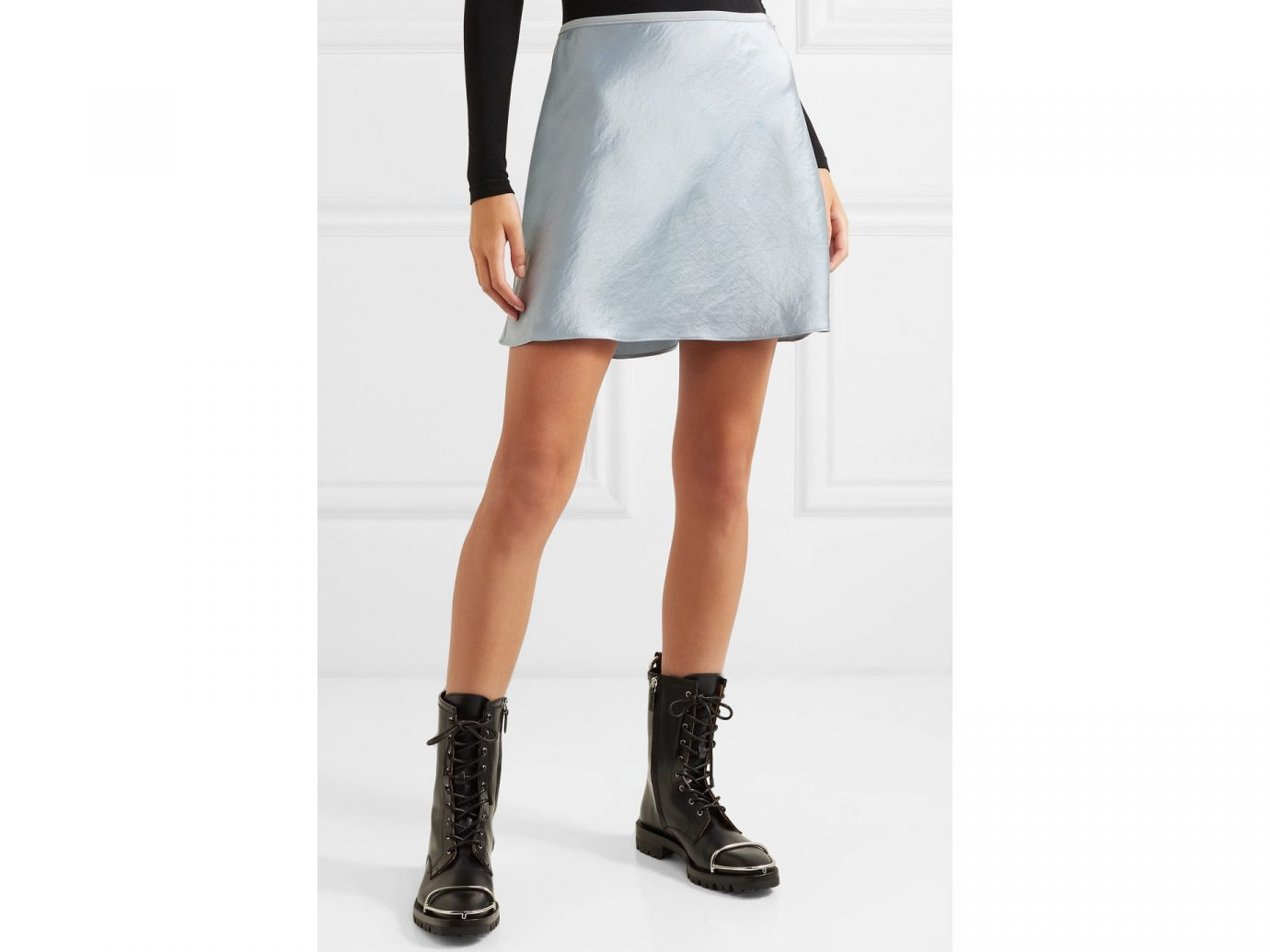 T By Alexander Wang Crinkled-Satin Mini Skirt