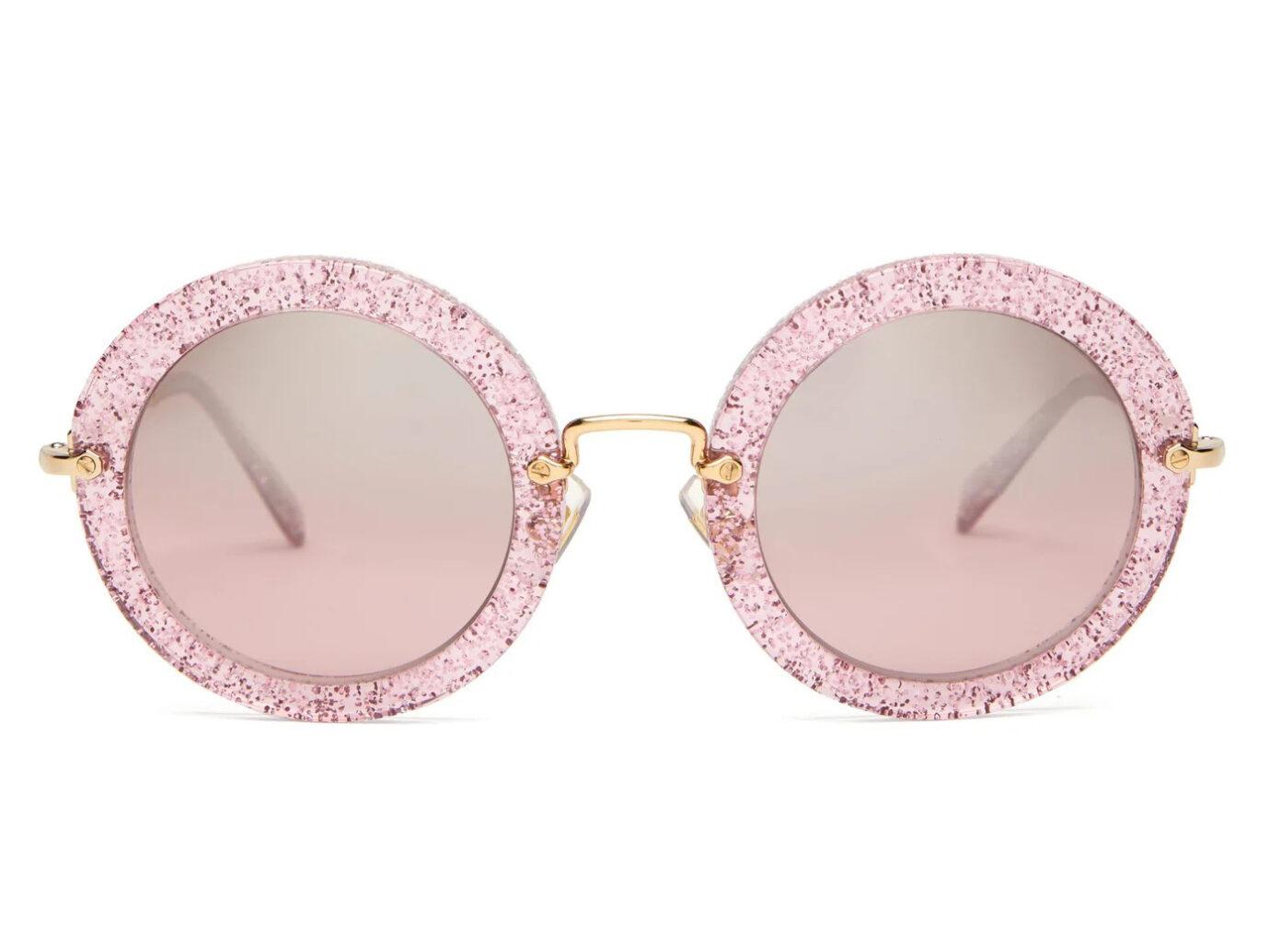 Miu Miu Round glitter-acetate sunglasses