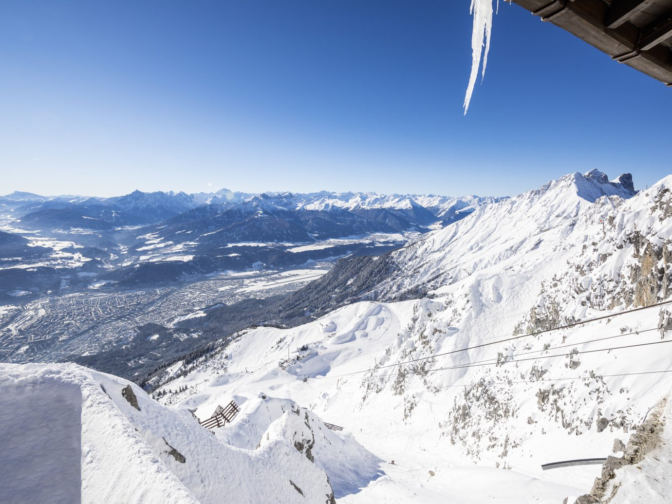 Skiers on a mountain in Innsbruck, Austria