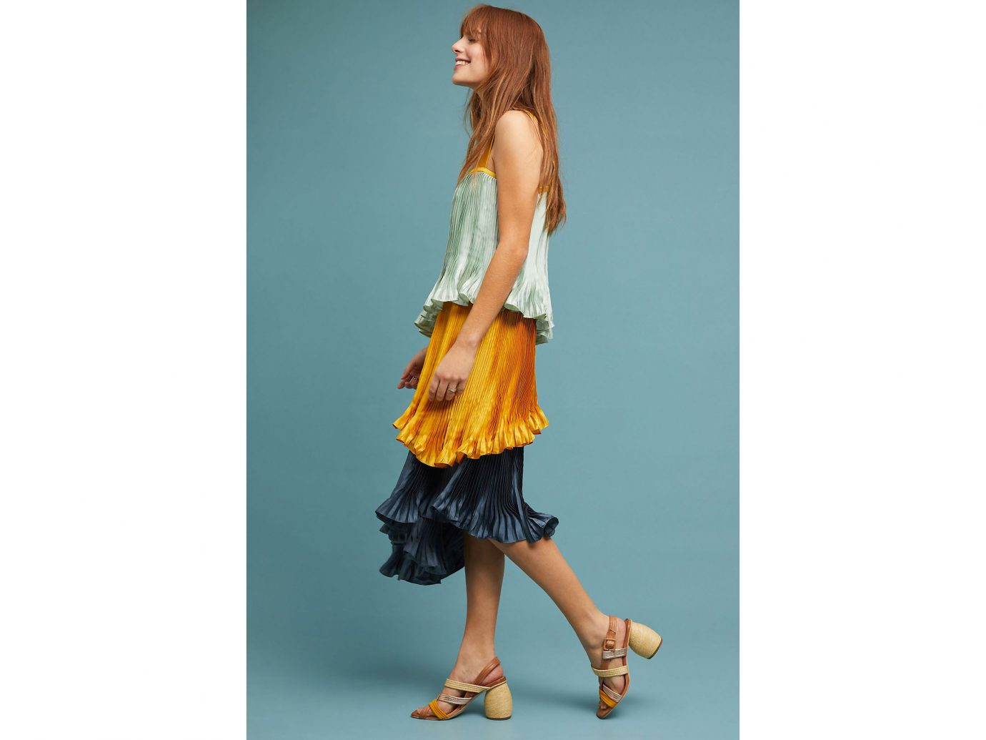 Anthropologie Pleated Colorblock Dress