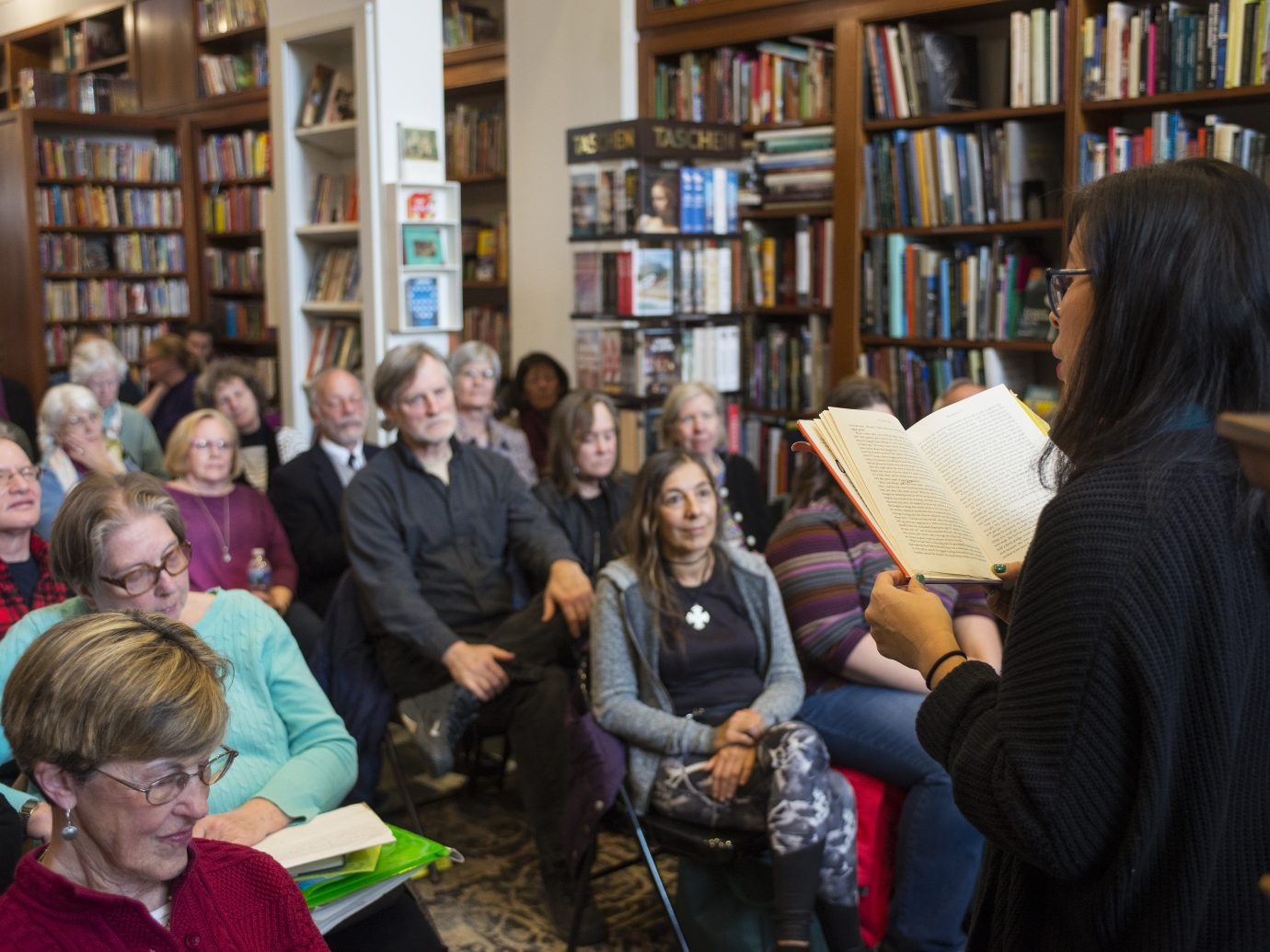 As the inaugural Carol Troxell Reader, Lisa Ko (The Leavers) gave a solo reading at New Dominion Bookshop, sharing her story of a mother and son, their heartrending separation, and the choices they each make in attempts to belong, to find love, to create a family at New Dominion Bookshop in Charlottesville on Thursday, 3/22/18.