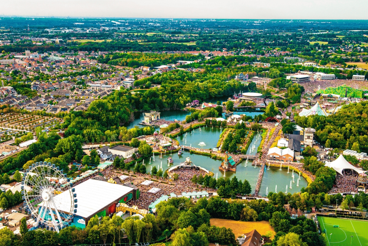 overhead view of grassy area and bodies of water at a festival