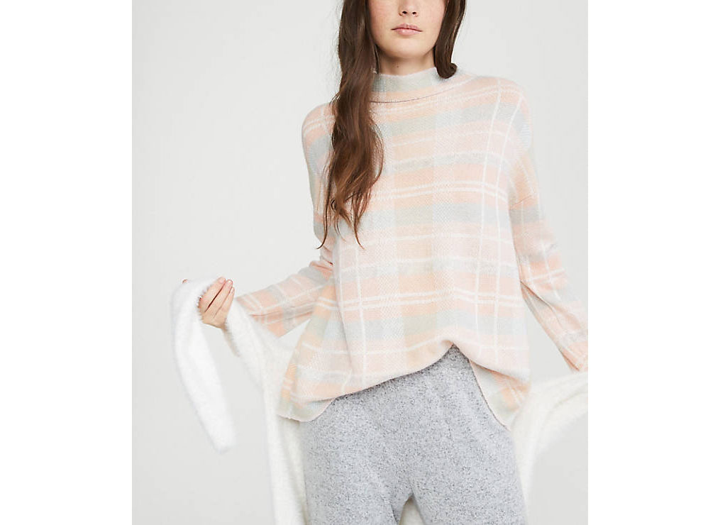 Lou & Grey Plaid Mock Neck Sweater