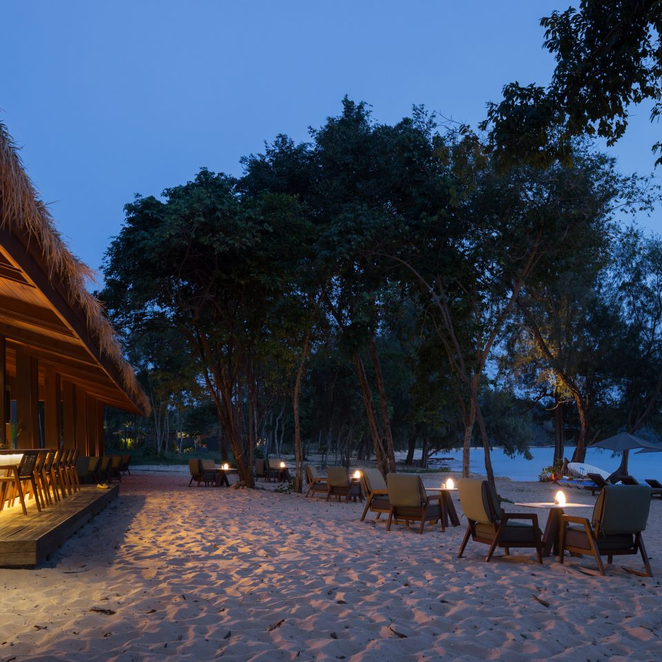 dining on the beach with a bar