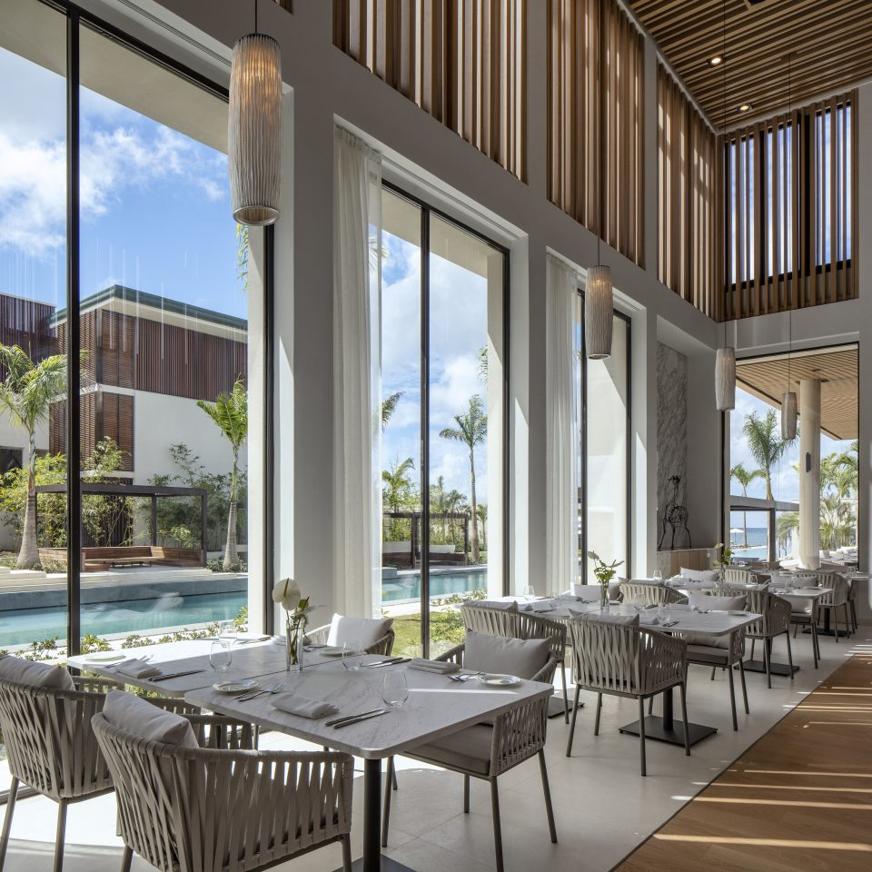 restaurant interior looking over pool