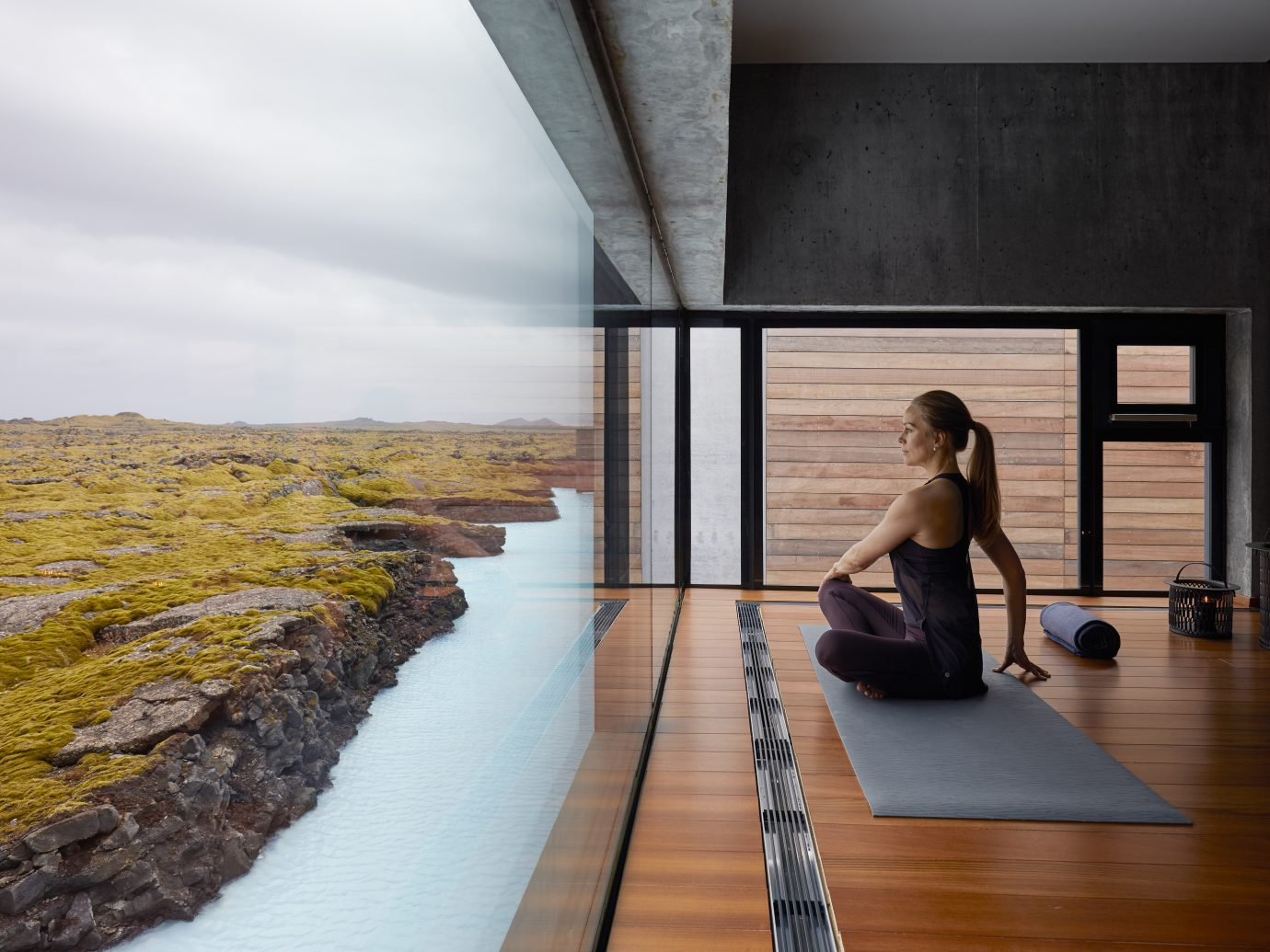 yoga at Blue Lagoon Iceland