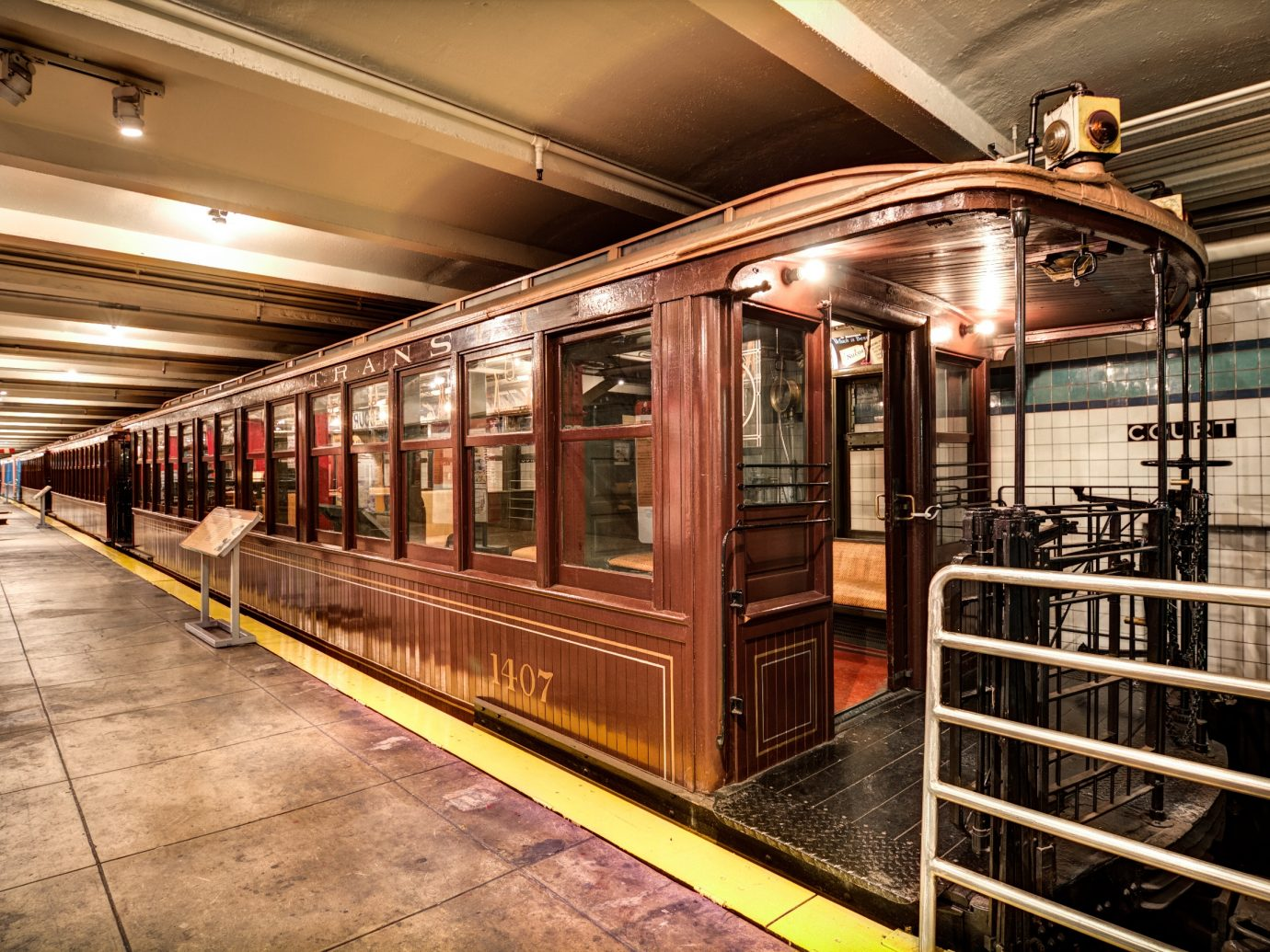 very old Brooklyn subway car on display