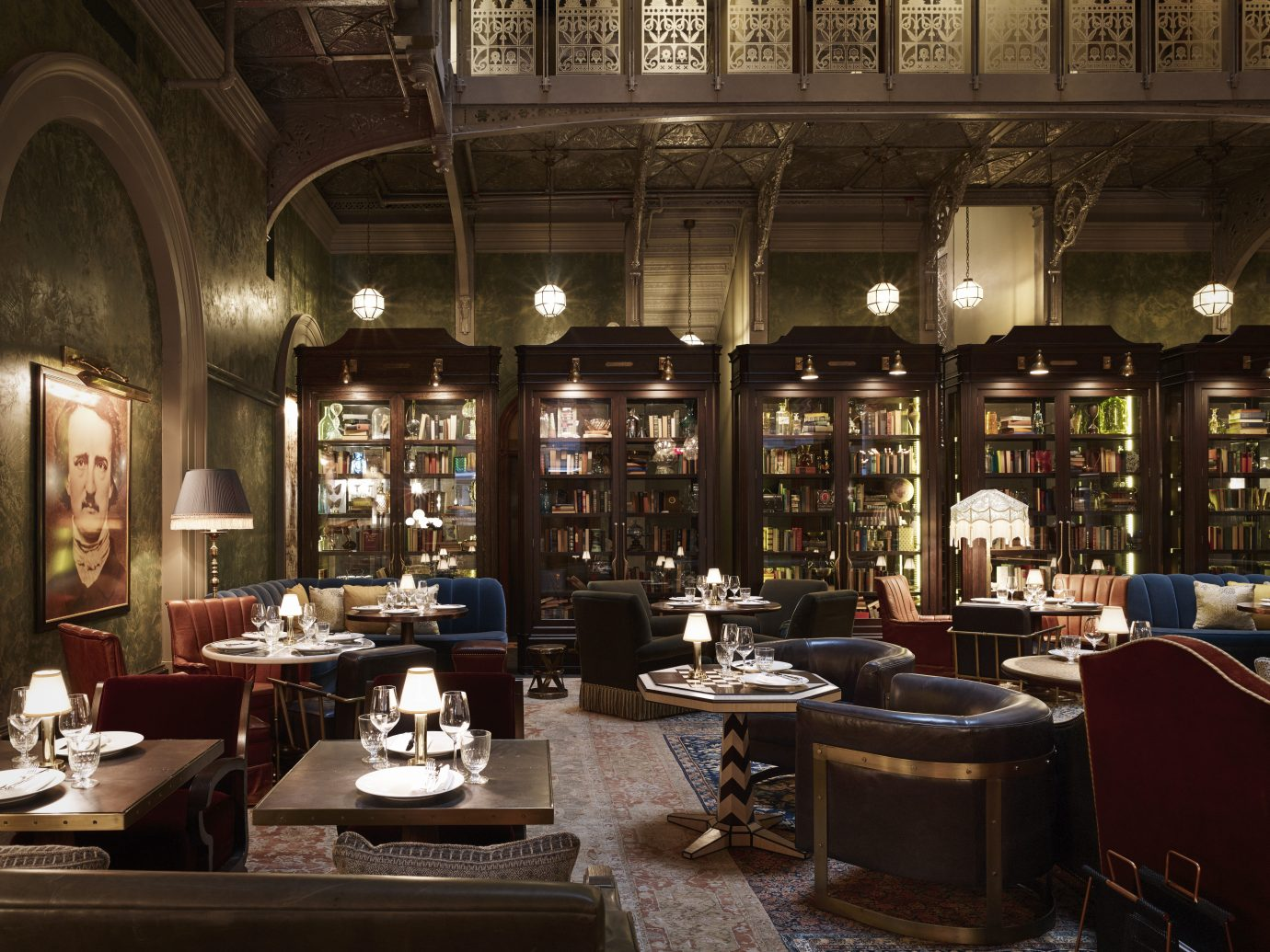 interior of a room that looks like a fancy library but is a bar