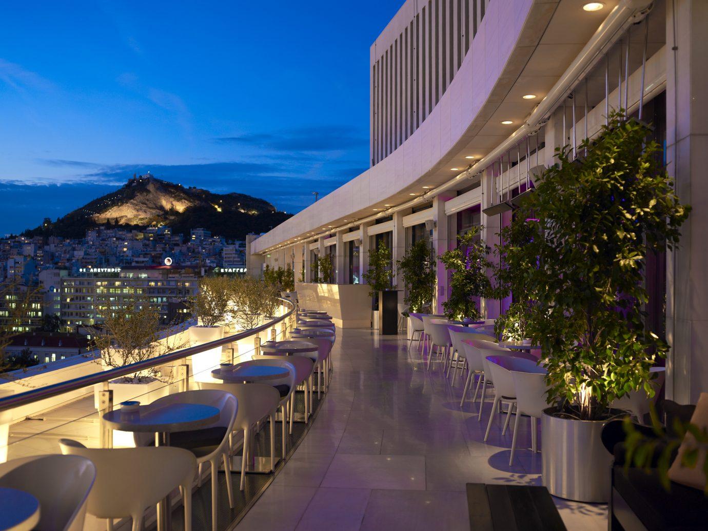 Outdoor bar at Hilton Athens