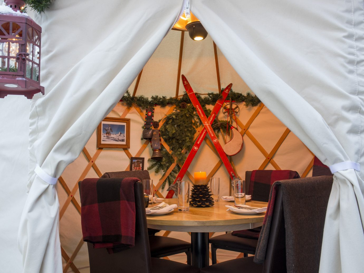 interior of a tent with a table in it