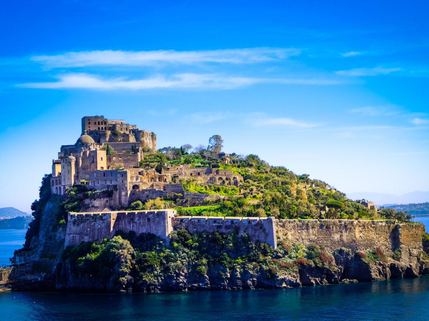 The aragonese castle in the island of ischia