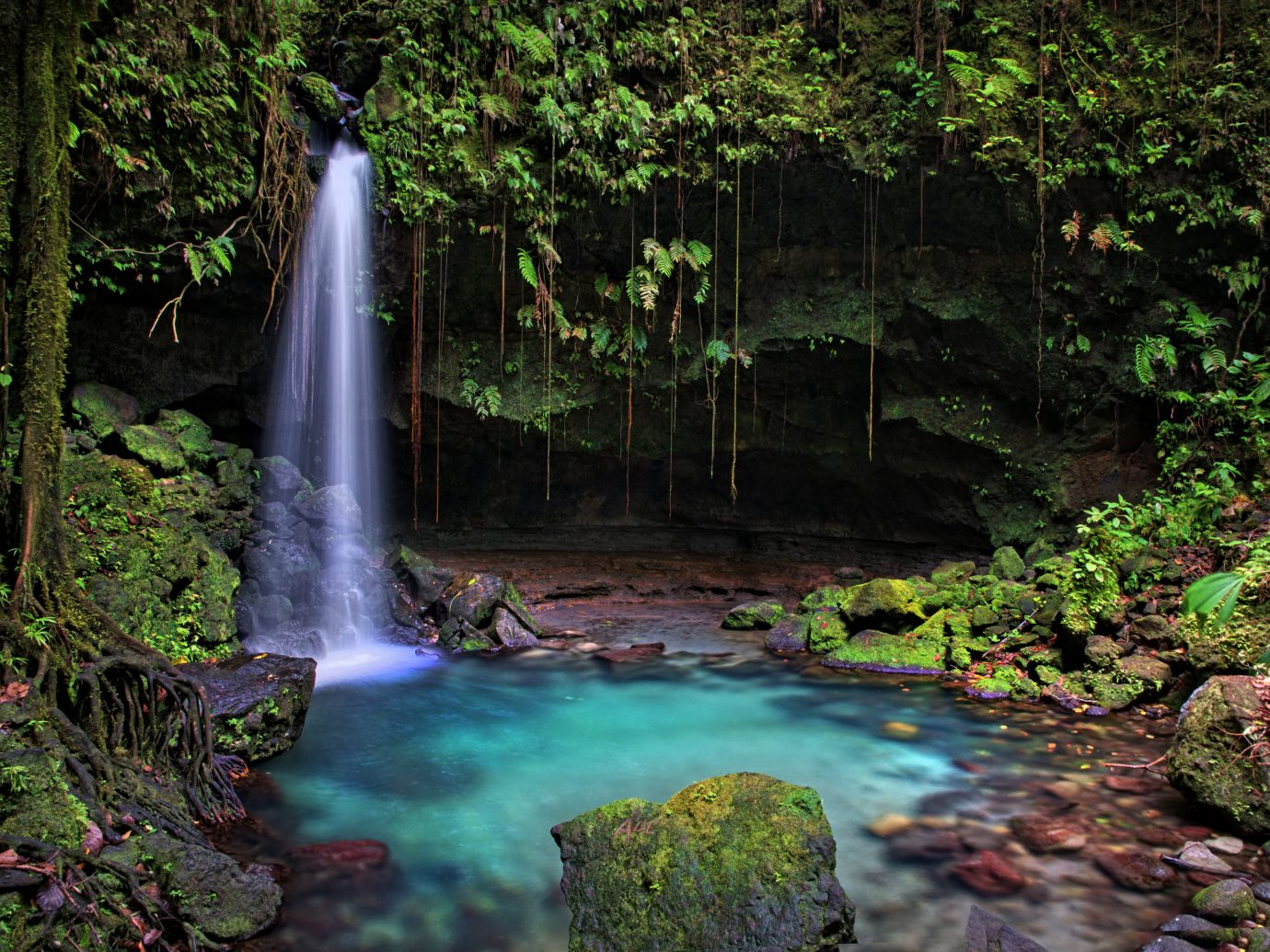 Famous waterfall, UNESCO site in Dominica, Caribbean.
