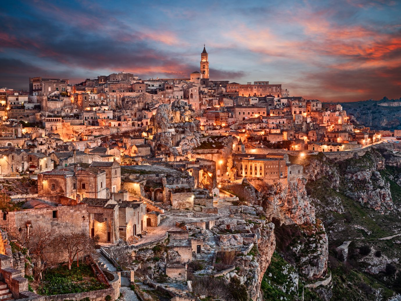 Matera, Basilicata, Italy: landscape at dawn of the old town (sassi di Matera), European Capital of Culture 2019