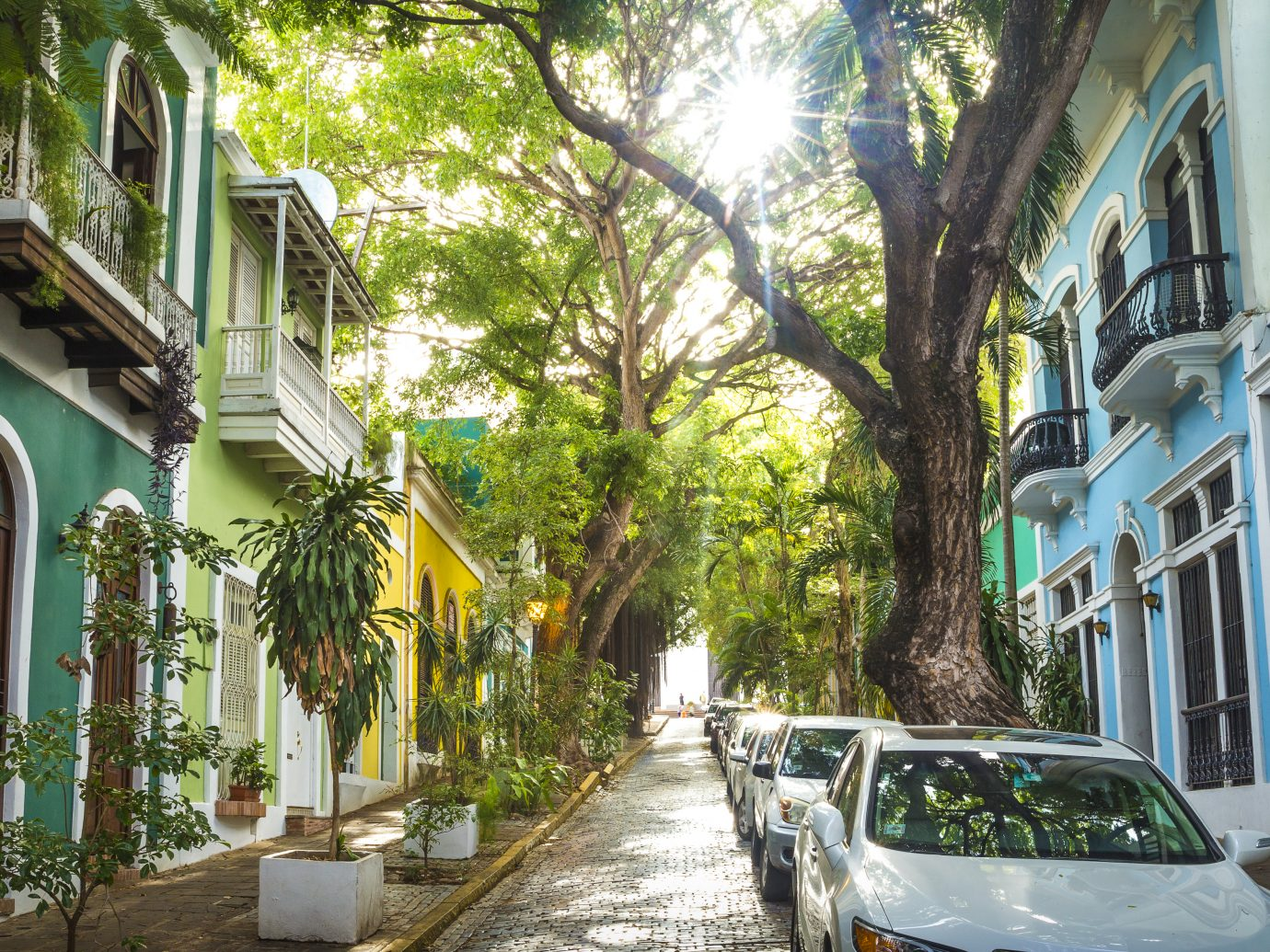 Panoramic photo of Old San Juan street in Puerto Rico