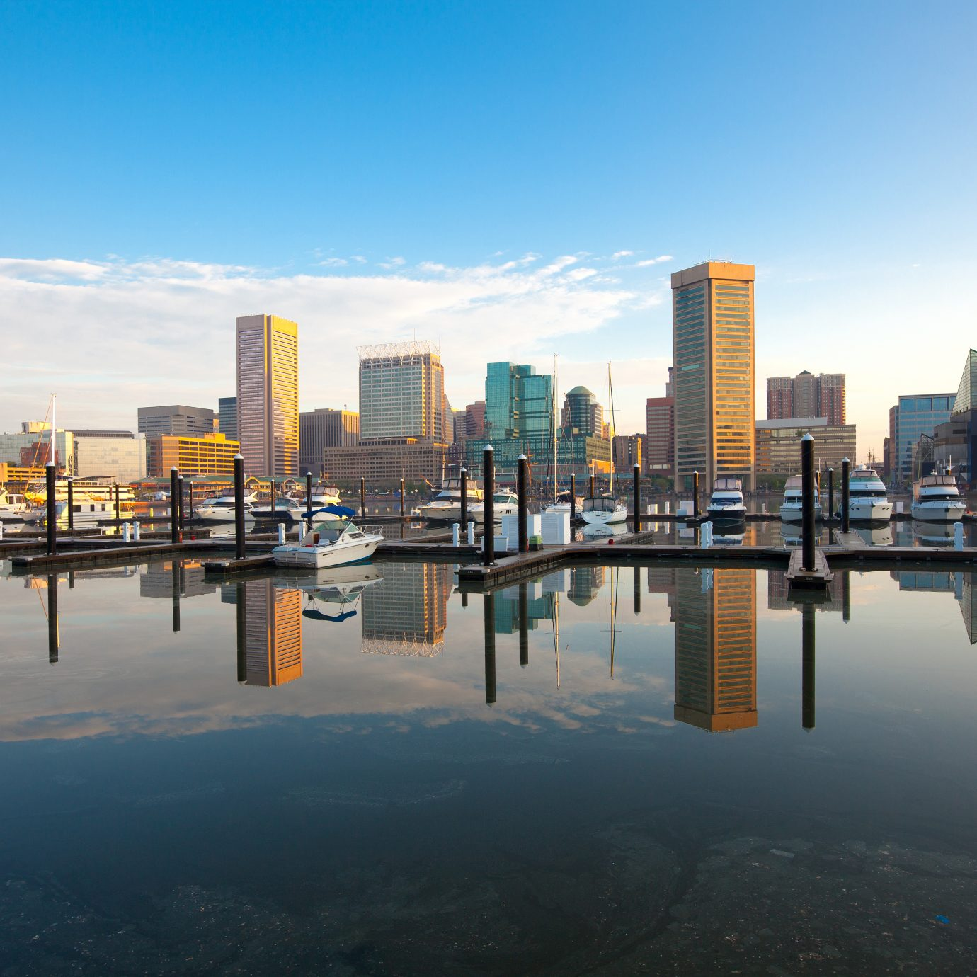 Downtown city skyline, Inner Harbor and marina, Baltimore