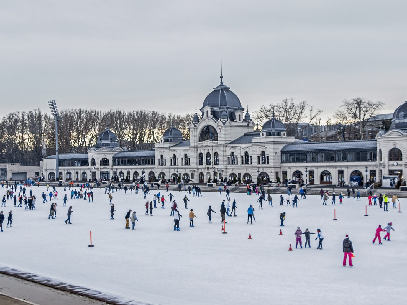 People ice skating outdoor in Budapest, Hungary.