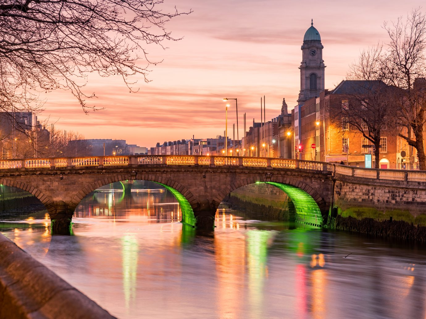 Grattan Bridge in Dublin, Ireland on the evening .This historic bridge spans the River Liffey in Dublin, Ireland.