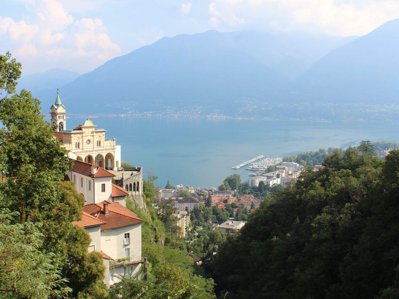 View of Madonna del Sasso in Locarno Switzerland