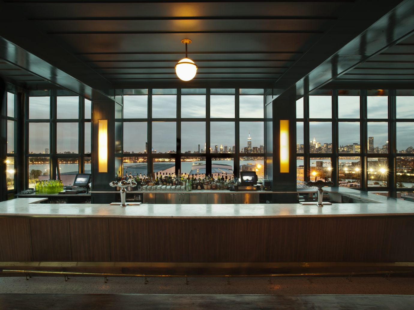 bar top looking over city skyline
