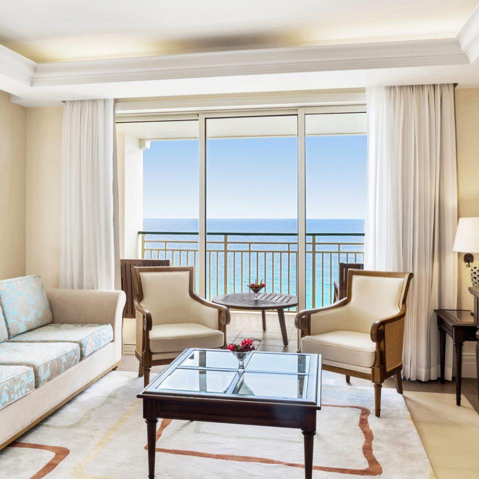 living space interior inside suite looking at ocean