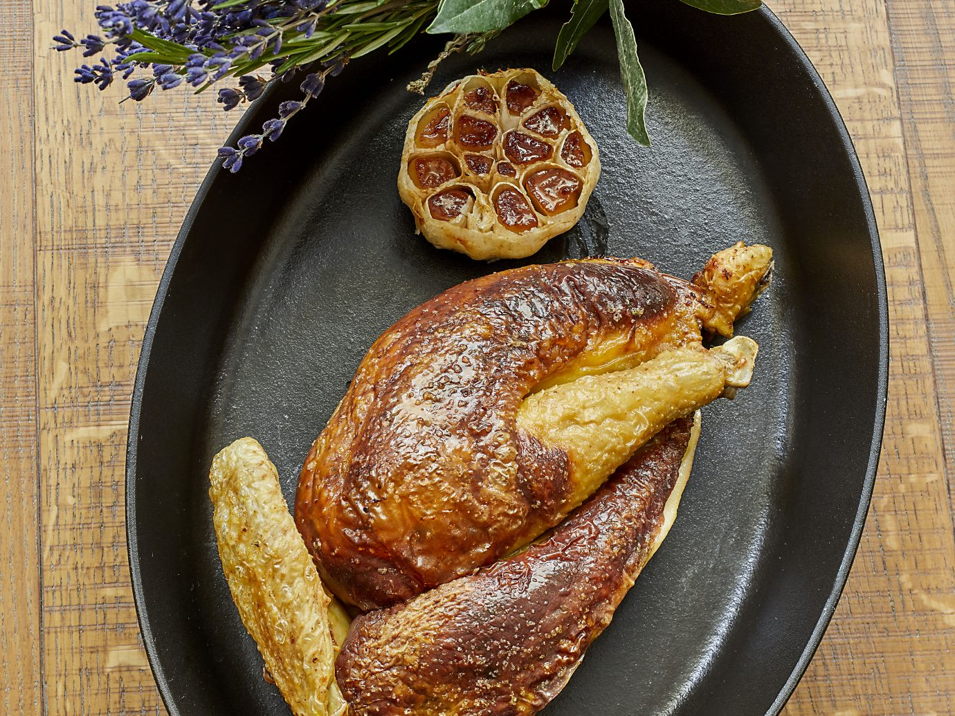 roasted chicken with garnishes
