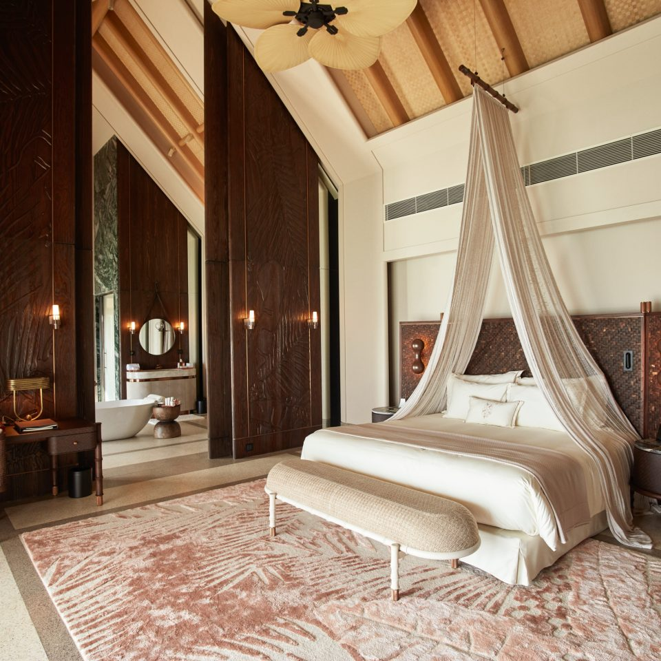 luxury water villa bedroom