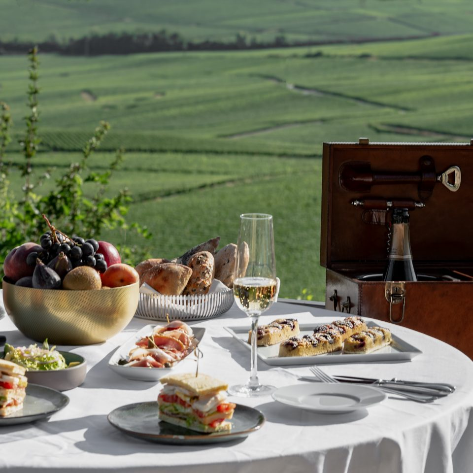 set table of sandwiches, fruits, bread, and champagne, overlooking a vineyard