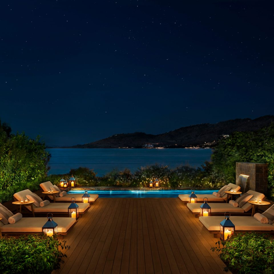 The Bodrum EDITION pool at night