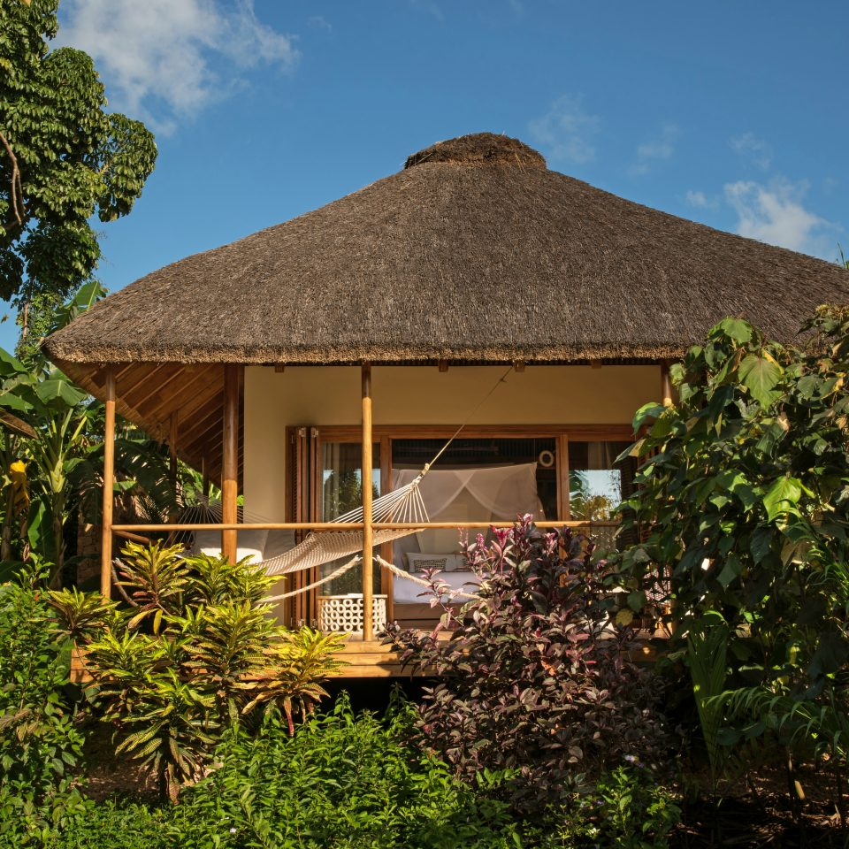 bungalow hidden by shrubbery with a hammock on the porch area