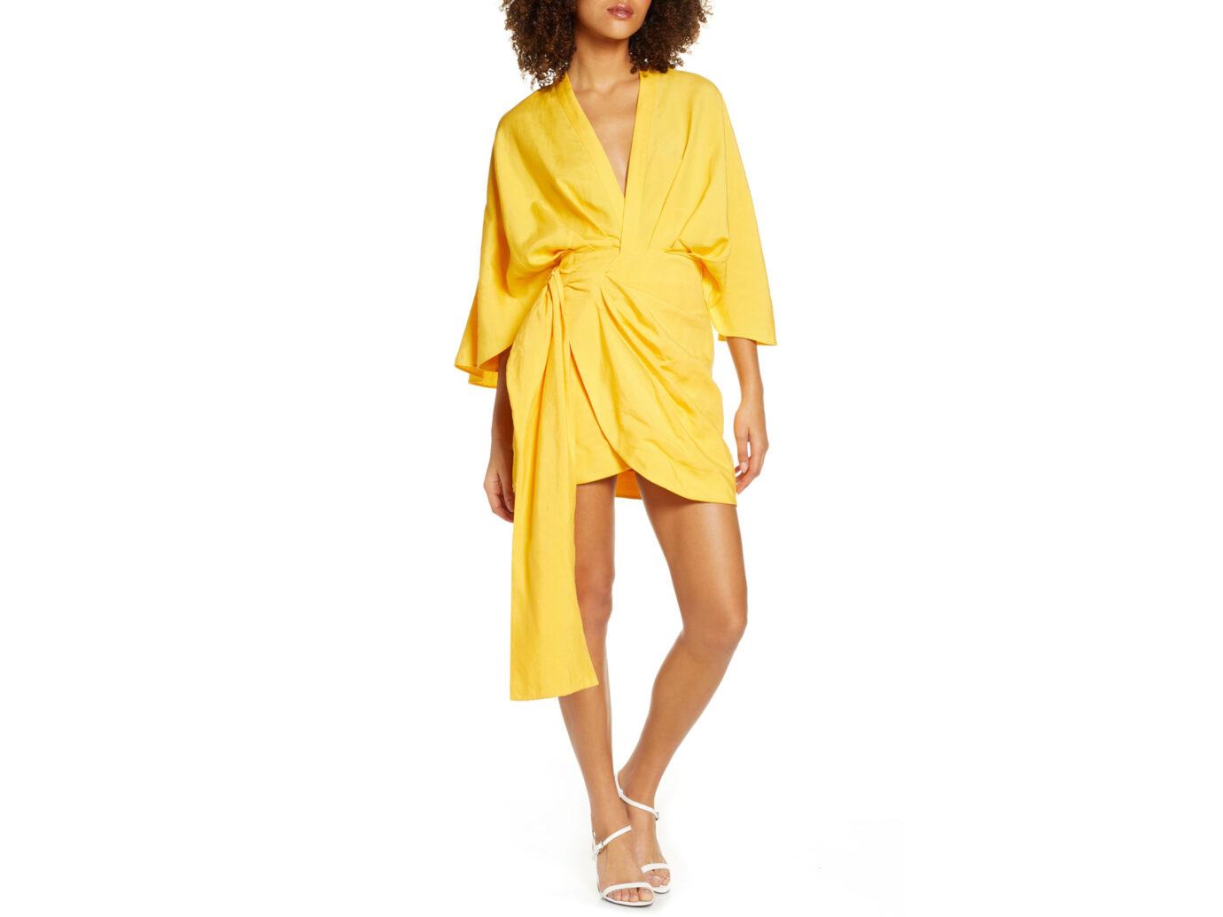 Significant Other Zahara Linen Blend Wrap Dress