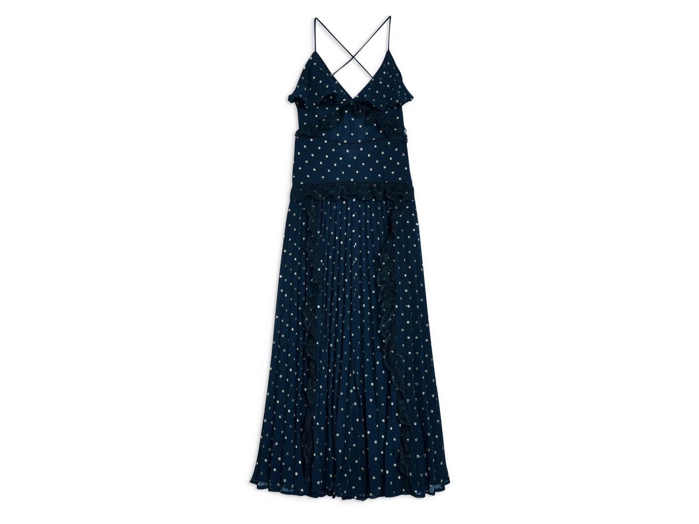 Topshop Lace Metallic Dot Maxi Dress