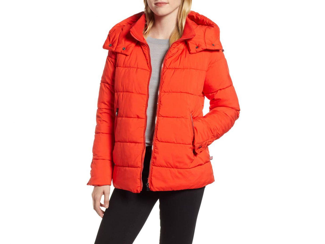 Hooded Puffer Jacket HALOGEN orange