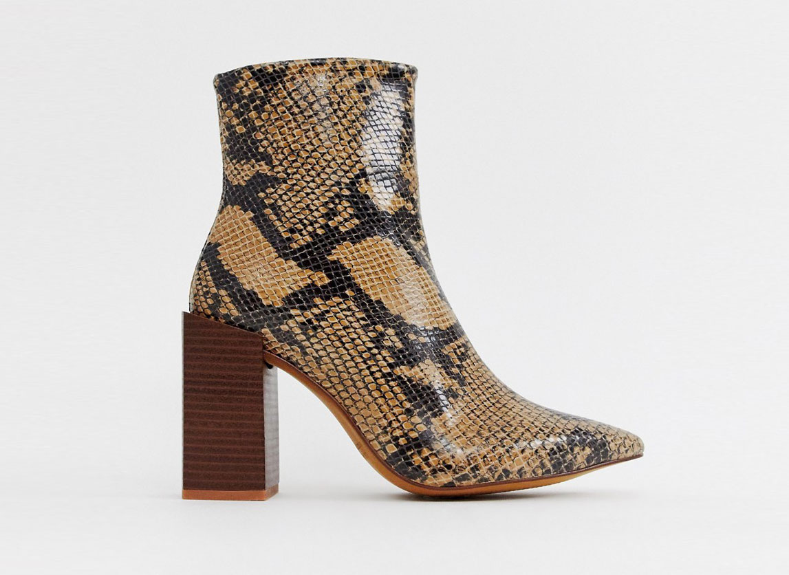 Depp Leather Snake Block Heeled Boots