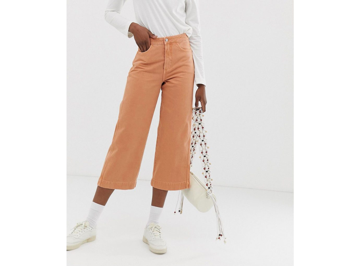 Weekday Denim Wide Leg Jeans in Tangerine
