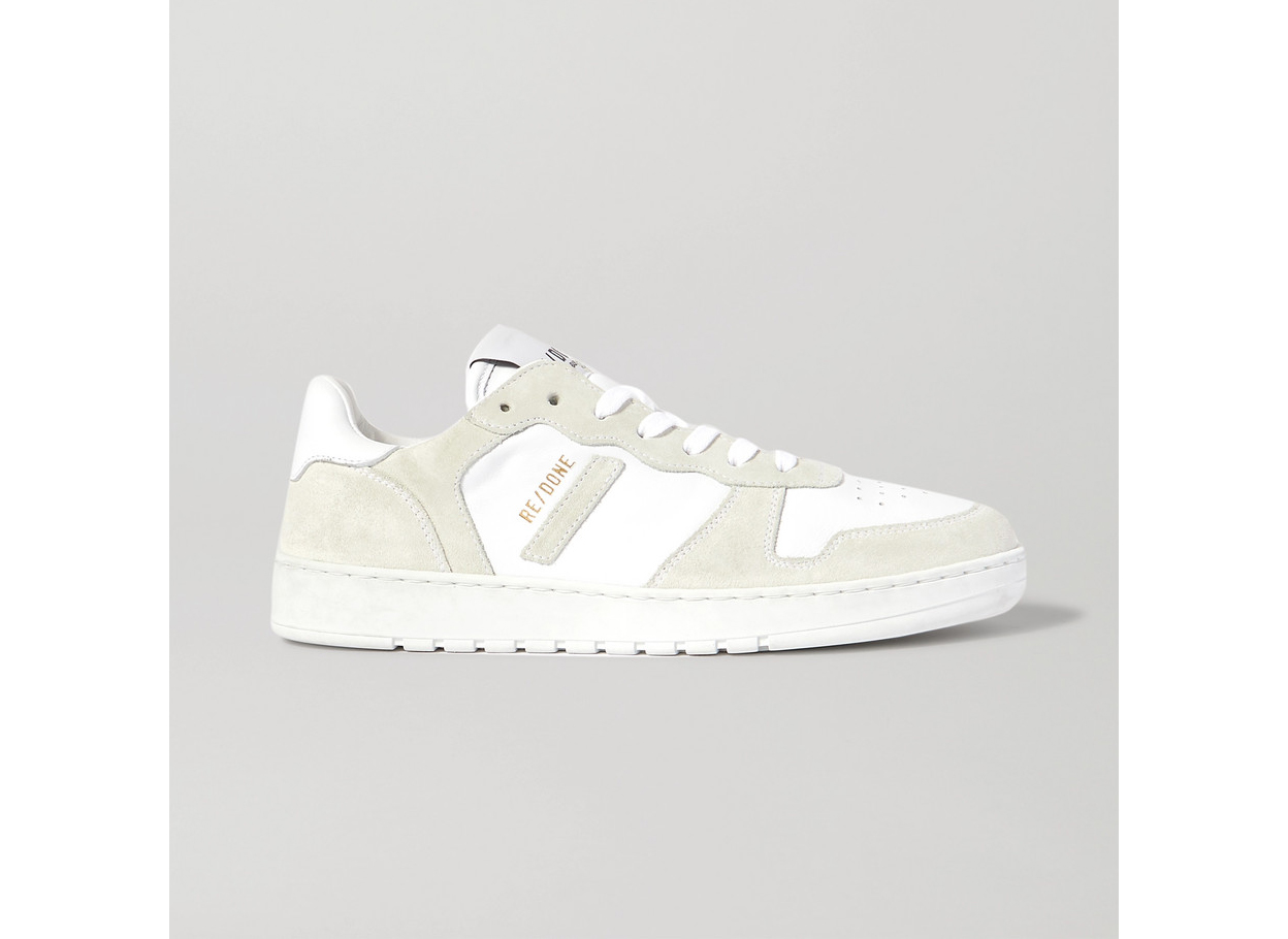 RE/DONE80s Perforated Leather and Suede Sneakers