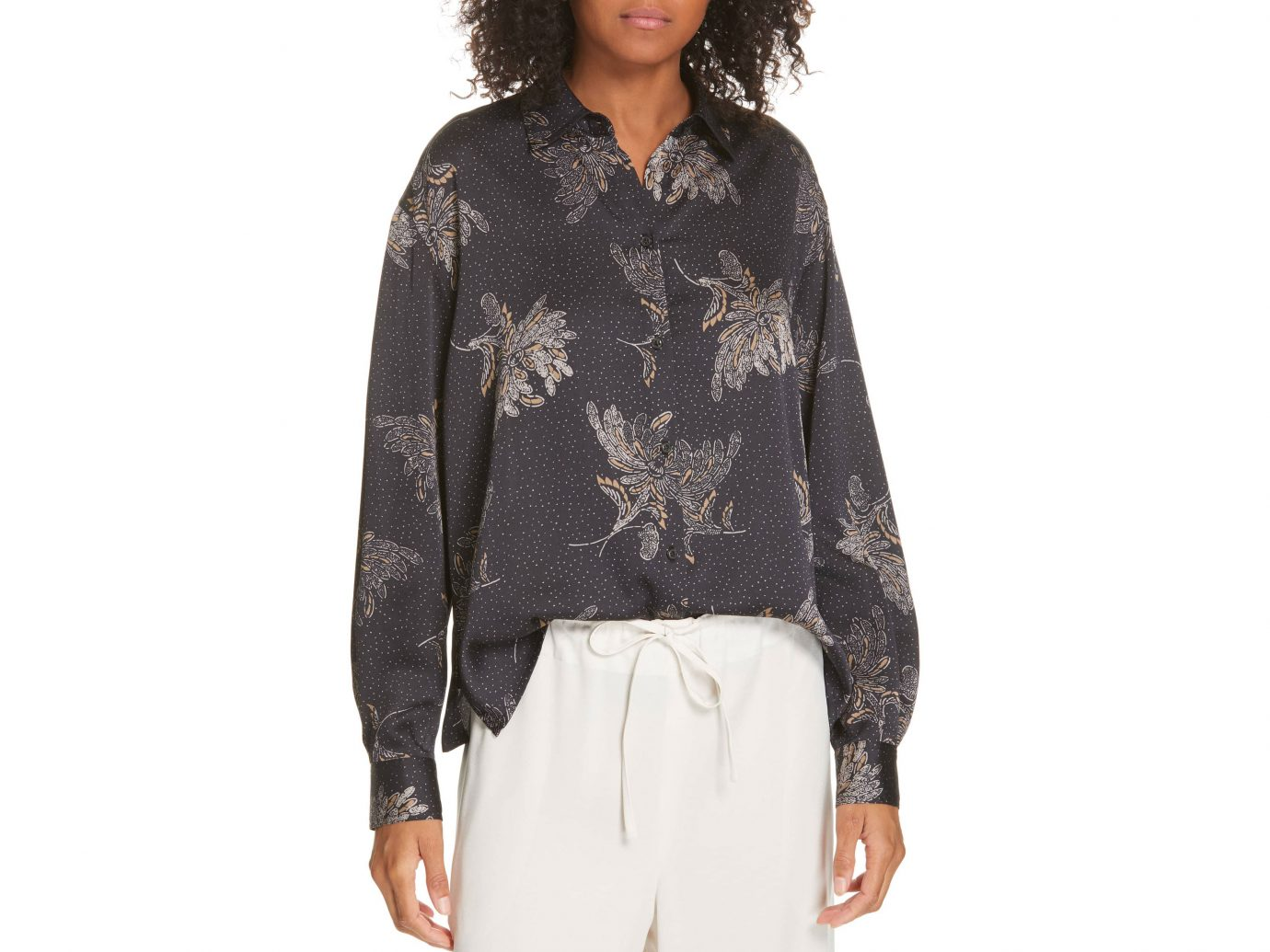 Vince Floral Dot Silk Blouse