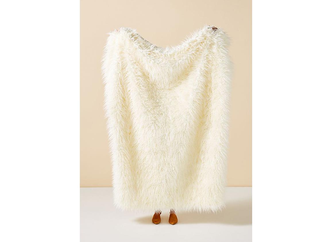 Anthropologie Makura Faux Fur Throw Blanket