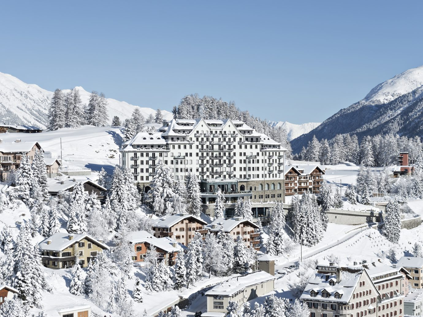 Arial view of Carlton Hotel in St. Moritz