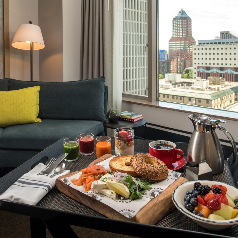 tray of food with view of Portland