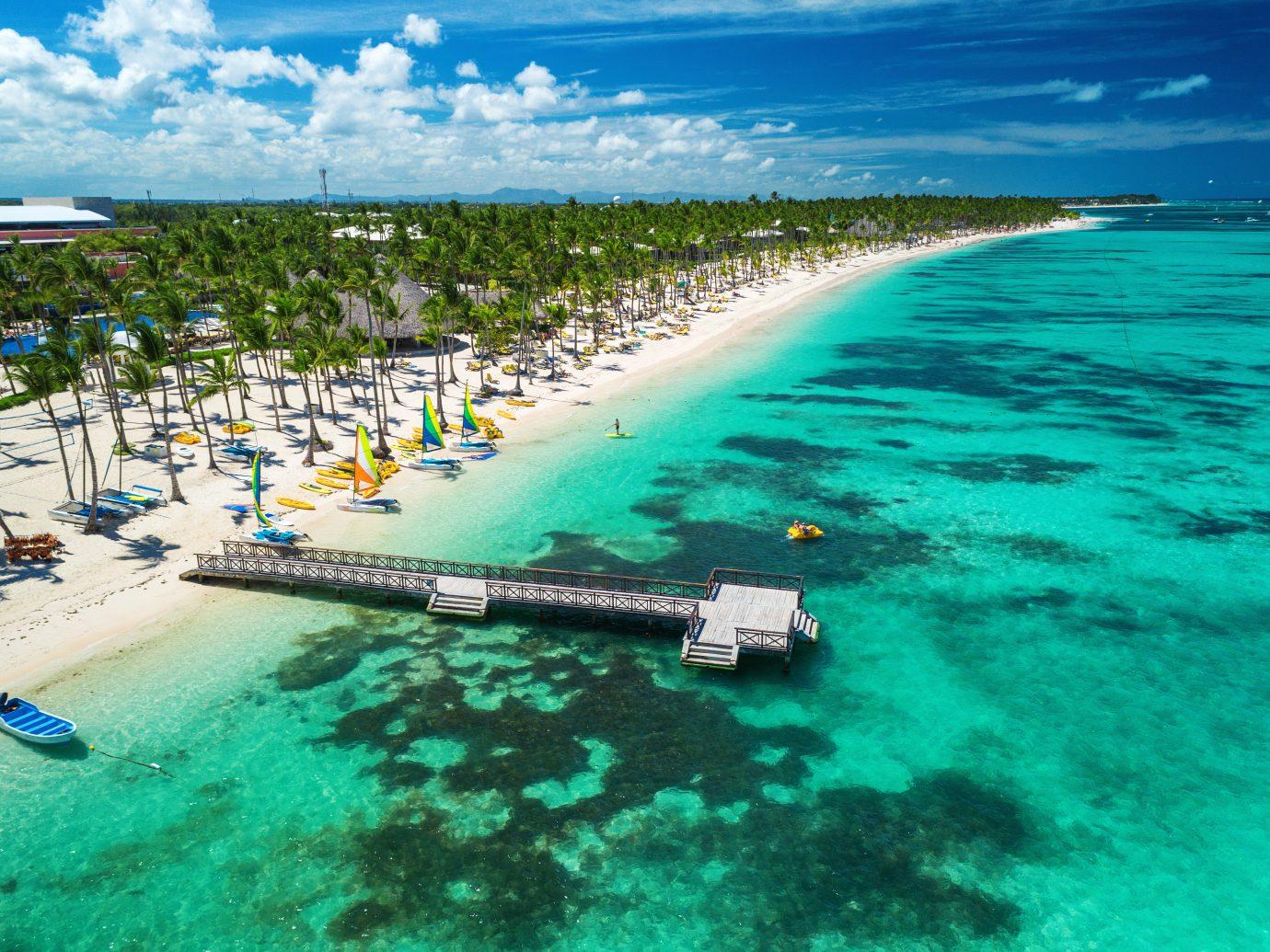 Aerial drone view of Caribbean resort Bavaro, Punta Cana
