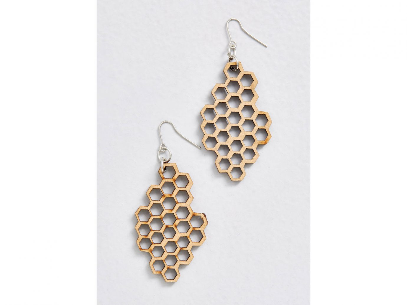 Honey Comb Wooden Earrings