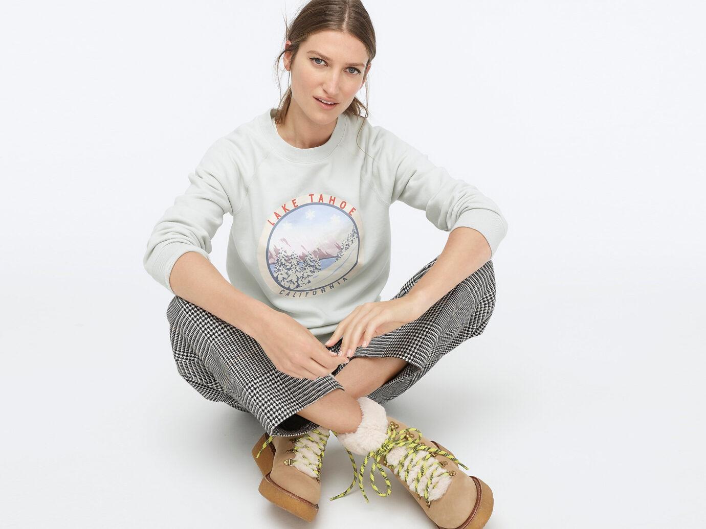 J.Crew Lake Tahoe Fleece Pullover Sweatshirt