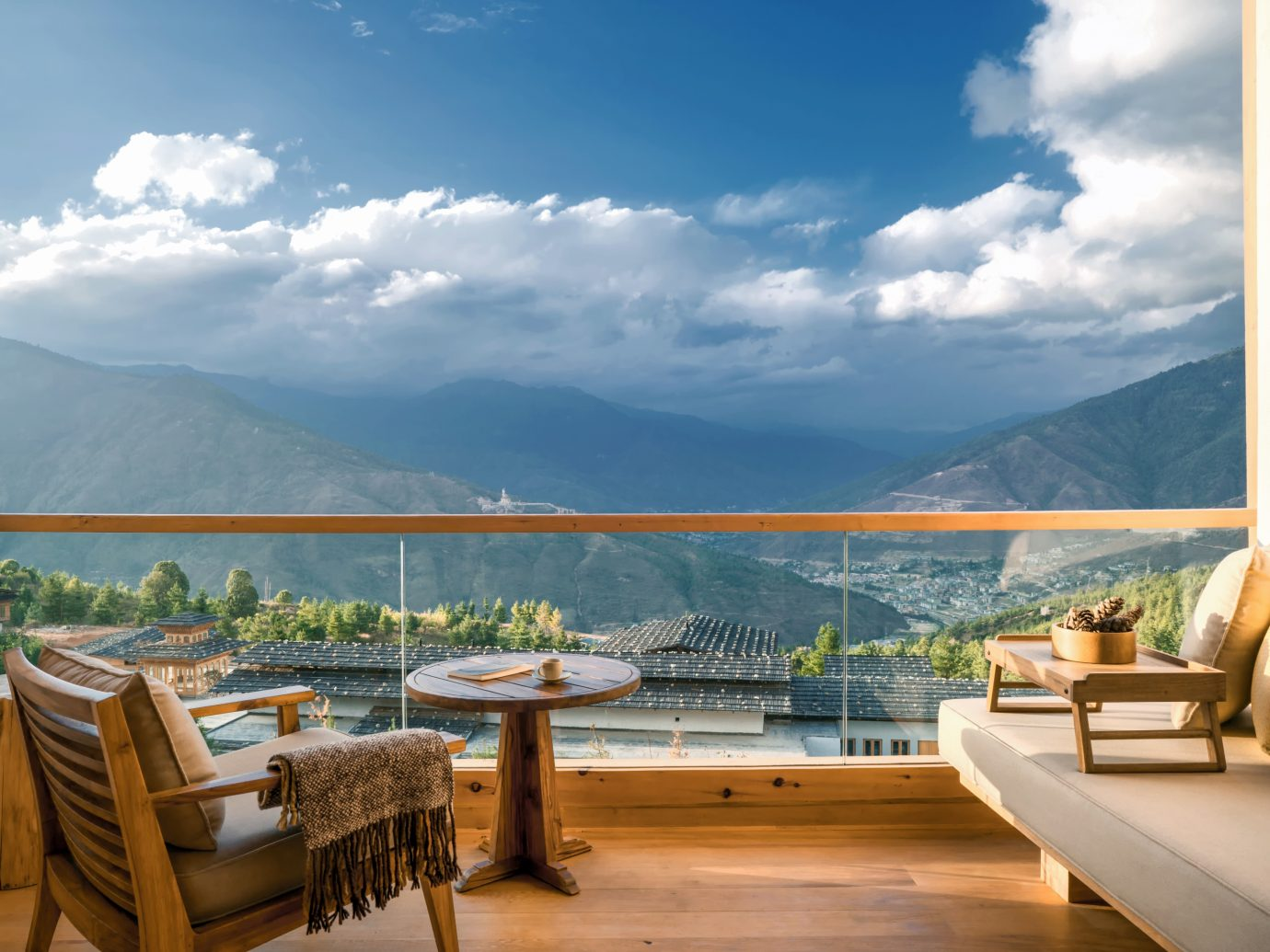 Balcony of the Lodge Suite at Six Senses Bhutan