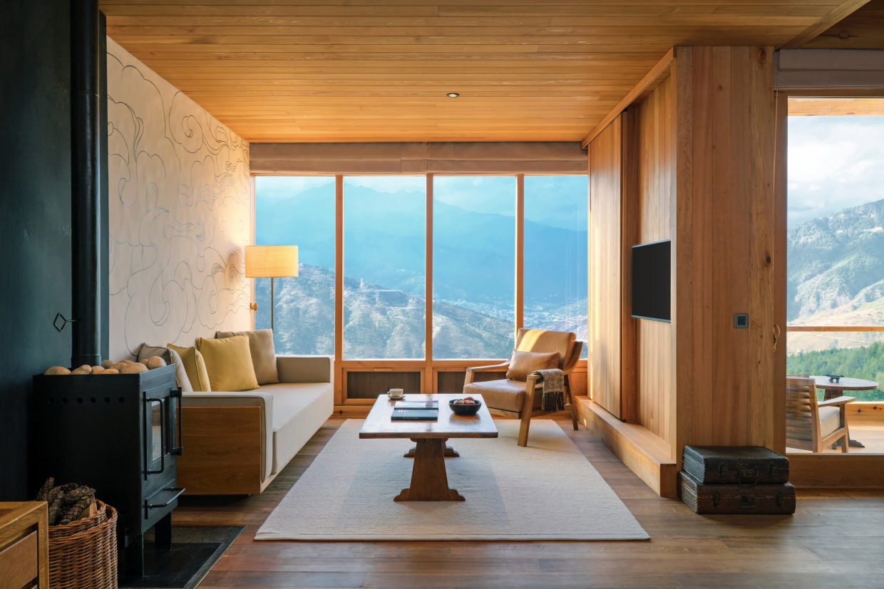 Living room of Six Senses Bhutan